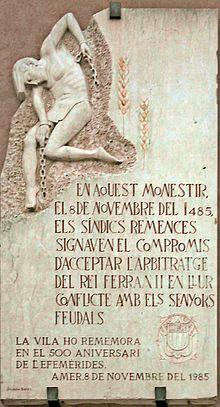 Monument commemoratiu a Amer. En aquest monestir, el 8 de novembre del 1485, els síndics remences signiven el compromis d'acceptar l'arbitratge del Rei Ferran II en llur conflicte amb els senyors feudals. La vila ho rememora en el 500 aniversari de l'efemèrides. Amer, 8 de novembre del 1985