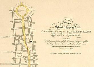 Park Crescent, London - Regent's Circus (top) as originally conceived in 1814. Only the bottom half was built.