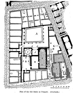 Plan of the Old Baths at Pompeii by Overbeck