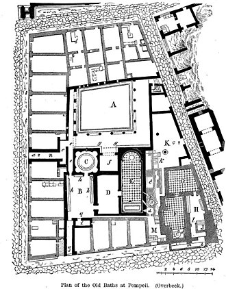 Johannes Overbeck - Plan of the Old Baths at Pompeii by Overbeck
