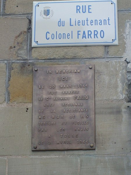 Plaque in memory of Raymond Farro, Brive la Gaillarde, France