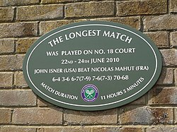 Plaque on wimbledon court no. 18 to commemorate the longest match in tennis history between john isner and nicolas mahut on 22 24 june 2010