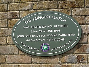 Isner–Mahut match at the 2010 Wimbledon Championships - Plaque on Wimbledon Court No. 18 to commemorate the longest match in tennis history between John Isner and Nicolas Mahut on 22–24 June 2010