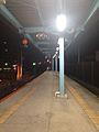Platform of Chojabaru Station (Fukuhoku Yutaka Line) at night.jpg