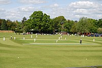 A match being played at Cricket Field Road Ground