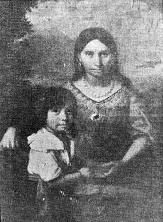 Americans in the United Kingdom - Pocahontas with her son Thomas Rolfe - likely to be the first British born person of American descent, regardless of ethnicity
