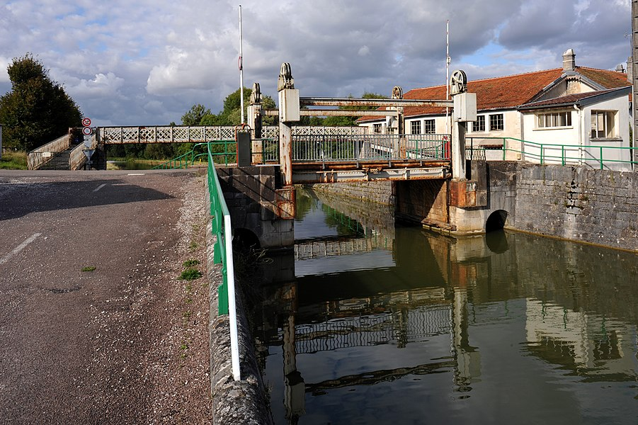 Lift bridge over the Canal de la Marne à la Saône near Luzy-sur-Marne; Haute-Marne, France.