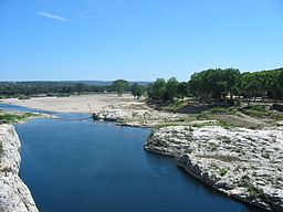 The Gardon near the Pont du Gard