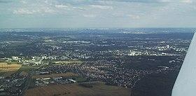 Vue aérienne de la ville de Pontoise.