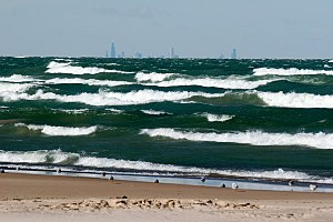The Portage Lake Michigan shore looking across...