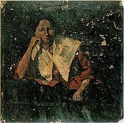 Portret van vrouw met witte kraag