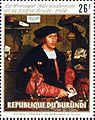 Portrait of the Merchant Georg Gisze, Holbein, 1532, on 1974 Burundi stamp.jpg
