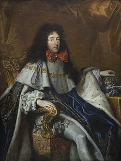 Portrait painting of Philippe of France, Duke of Orléans holding a crown of a child of France (Pierre Mignard, Musée des Beaux-Arts de Bordeaux).jpg