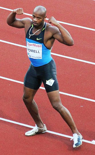 Asafa Powell - Powell plays to the crowd at the 2010 Bislett Games