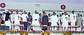 Pranab Mukherjee, the Union Minister of Labour and Employment, Shri Mallikarjun Kharge and other dignitaries at the foundation stone laying ceremony of ESIC Medical Education Complex, at Gulbarga, Karnataka on May 29, 2010.jpg