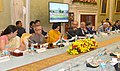 Pranab Mukherjee addressing the concluding season of the conference of Vice Chancellors of Central Universities, at Rashtrapati Bhavan, in New Delhi. The Union Minister for Human Resource Development.jpg