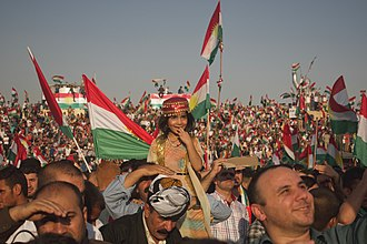 Pro-independence rally in Kurdistan Region in September 2017 Pre-referendum, pro-Kurdistan, pro-independence rally in Erbil, Kurdistan Region of Iraq 25.jpg