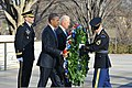 President Barack H. Obama, center left, and Vice President Joseph Biden, center right, lay a wreath at the Tomb of the Unknowns at Arlington National Cemetery in Arlington, Va 130120-A-NZ457-115.jpg
