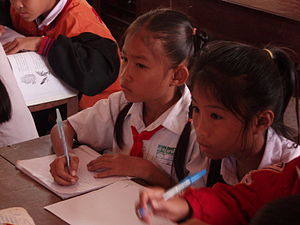 Education in Laos - Students in a small village school in southern Laos
