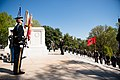 Prime Minister of the Republic of Albania lays a wreath at the Tomb of the Unknown Soldier in Arlington National Cemetery (25809802413).jpg