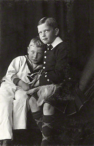 Prince John of the United Kingdom - Prince George holding Prince John. Photograph by James Lafayette, 1909.