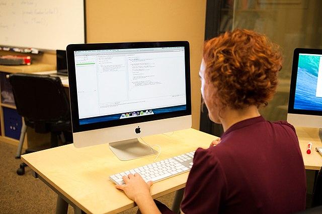 Female software developer at computer