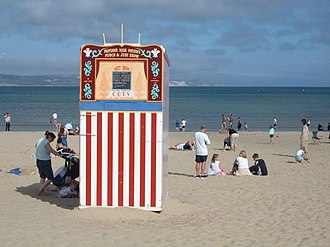The Esplanade, Weymouth - Punch and Judy on the beach viewed from the Esplanade.
