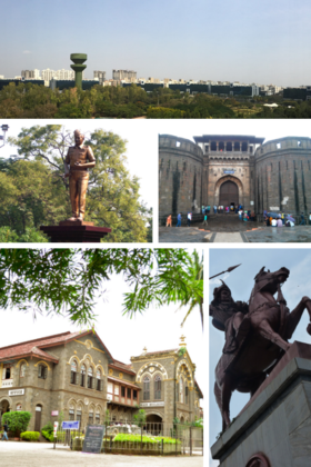 Top to bottom, left to right: Pune Skyline, Sam Manekshaw Statue in Pune Camp, Shaniwarwada, Fergusson College, and Baji Rao I Statue outside Shaniwarwada