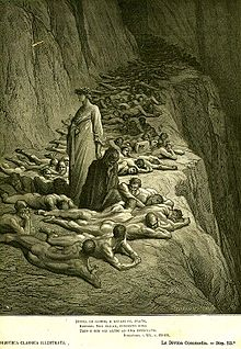 """Image from Dante's Purgatory by Gustave Doré of greedy and prodical souls laying face down in the dust"""