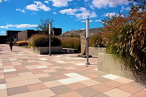 State University of New York at Purchase - Purchase College's main plaza. All academic and service buildings centrally located on the newly renovated plaza.