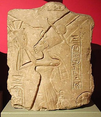 Nefertiti - Nefertiti worshipping the Aten. She is given the title of Mistress of the Two Lands. On display at the Ashmolean Museum, Oxford.
