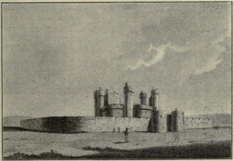 Queenborough Castle - An 18th-century engraving of Queenborough Castle, based on a lost drawing by Wenceslaus Hollar (1607-1677).