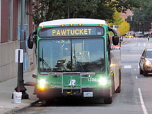 A Pawtucket-bound RIPTA bus in Providence