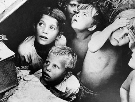 Soviet children during a German air raid in the first days of the war, June 1941, by RIA Novosti archive RIAN archive 137811 Children during air raid.jpg