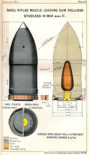 Palliser shot and shell - Image: RML 10 inch Palliser studless shell Mk II diagram