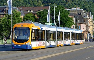 Trams in Heidelberg - A line 23 tram crosses the Theodor-Heuss-Brücke, 2014.