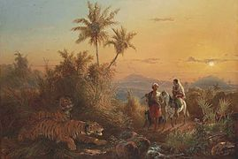 Raden Saleh - Javanese Landscape, with Tigers Listening to the Sound of a Travelling Group.jpg
