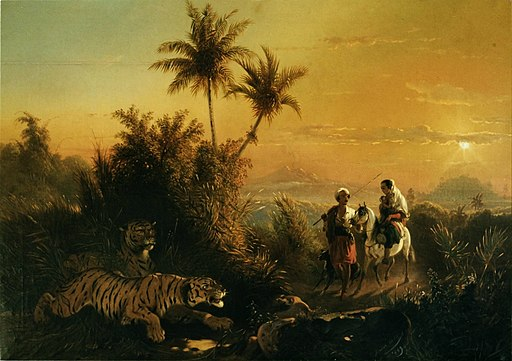 Raden Saleh - Javanese Landscape, with Tigers listening to the sound of a travelling group (copy)