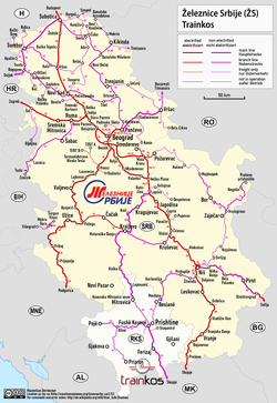 Serbian Railways Wikipedia - Map of serbia