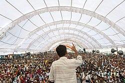 Rajagopal speaking to 25,000 people, Janadesh 2007, India.jpg