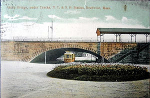 Readville (MBTA station) - 1907 postcard of Readville showing the Midland Branch platform on the viaduct above Hyde Park Avenue