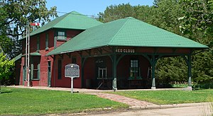 National Register of Historic Places listings in Webster County, Nebraska - Image: Red Cloud RR depot from SE