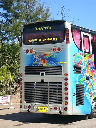 Automotive lighting - Extensively redundant rear lighting installation on a Thai tour bus.