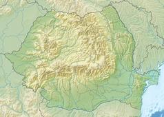 """Mapa konturowa Rumunii, blisko górnej krawiędzi znajduje się punkt z opisem """"źródło"""", natomiast po prawej nieco na dole znajduje się punkt z opisem """"ujście"""""""