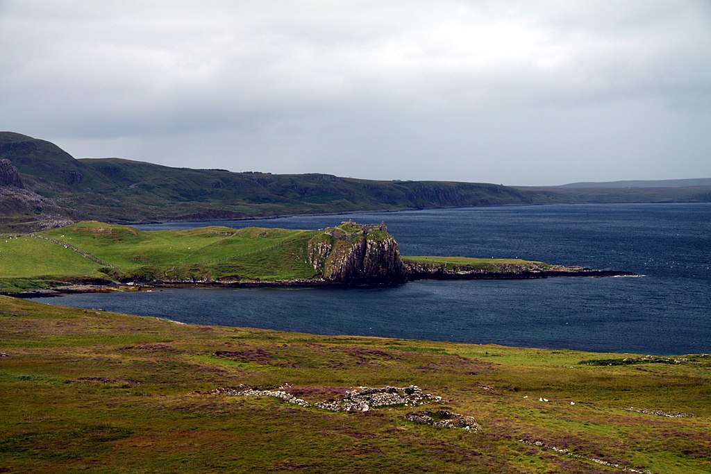 View of Duntulm Castle from afar.