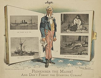 "Latin America–United States relations - American cartoon, published in 1898: ""Remember the Maine! And Don't Forget the Starving Cubans!"""