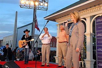 Blackburn in 2007 with John Rich, Zach Wamp, and Ron Ramsey Rep. Marsha Blackburn (1393180946).jpg