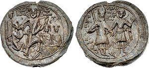 Alexios I Komnenos - Rare seal of Alexios I with a depiction of the Resurrection