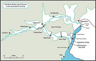 River Rother, East Sussex - Developments of the Rother during the seventeenth century, showing the new route to the south of the Isle of Oxney