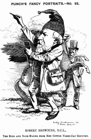 1882 in poetry - Caricature of English poet Robert Browning that appeared this year in Punch